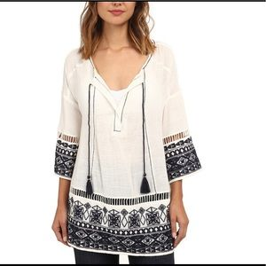 Free People Large Count Stars WhiteNavy Embroider